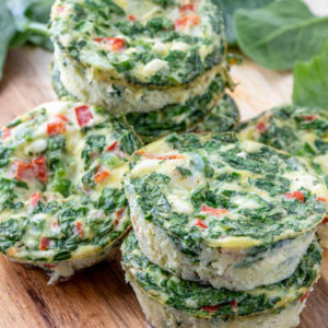 The feta and veggie frittatas stacked on top of each other