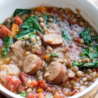 Lentil and Farro Sausage Soup