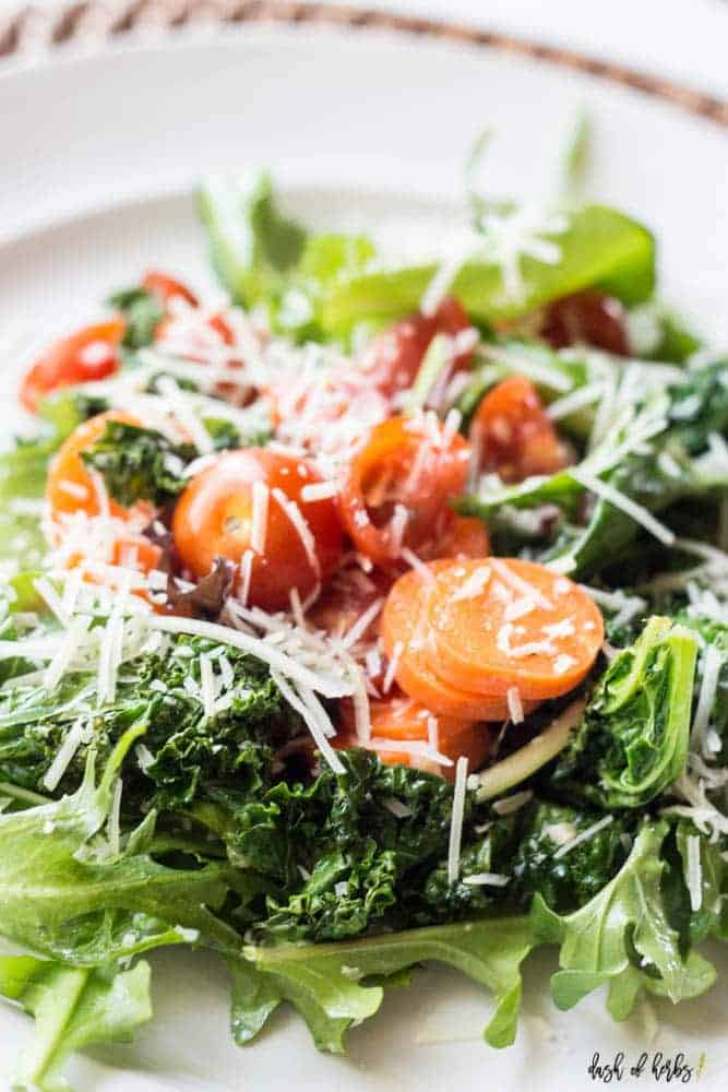Roasted Kale Salad with Lemon Dressing