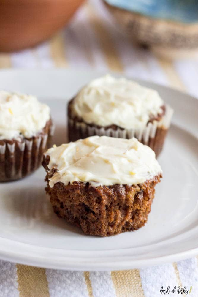 Healthy Carrot Cake Cupcakes with Lemon Cream Cheese Frosting