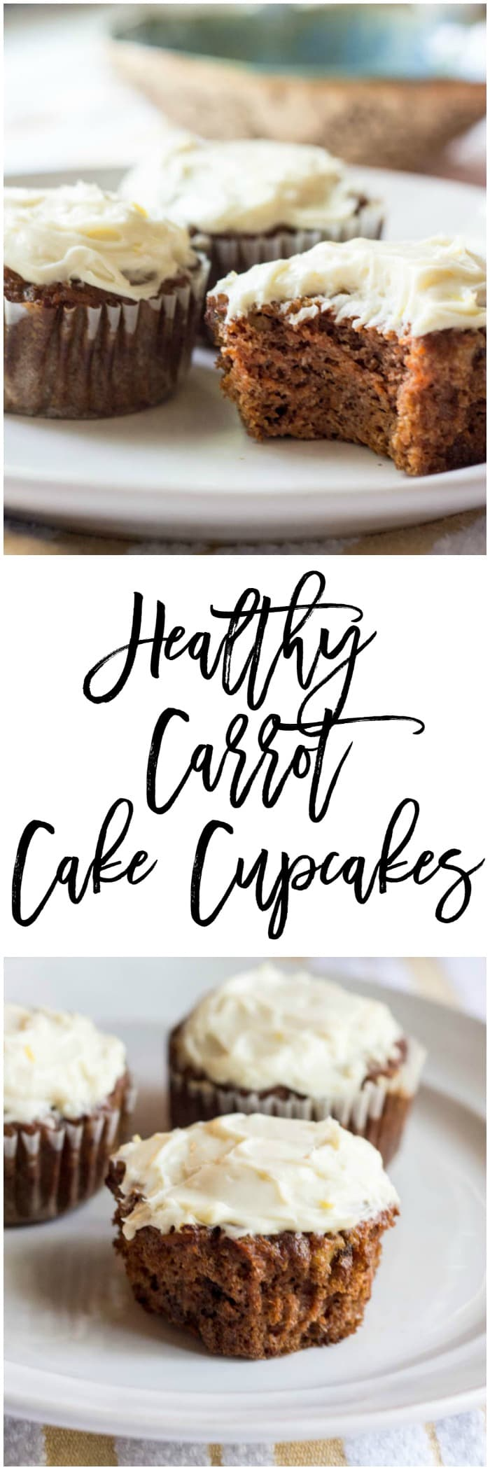 Healthy Carrot Cake Cupcakes with Lemon Cream Cheese Frosting - a wonderful and easy recipe when you are craving carrot cake cupcakes. These are SO good!