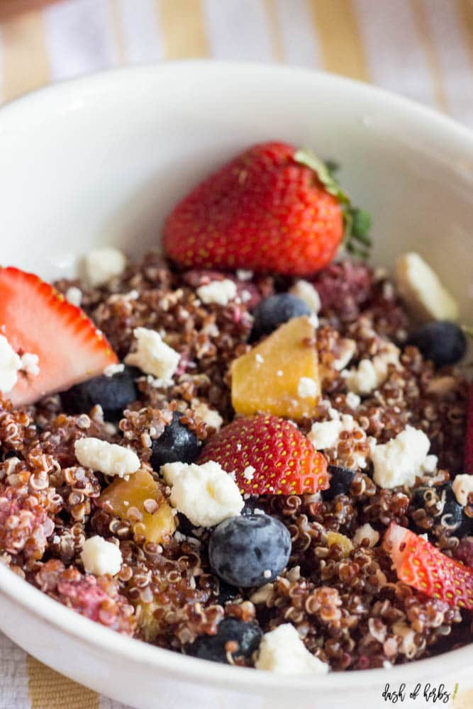 Strawberry Summer Red Quinoa Salad with Feta