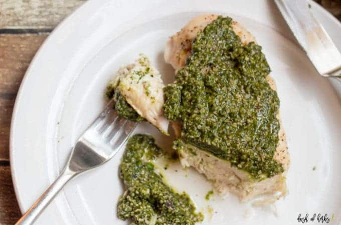Baked Chicken with Arugula Pesto