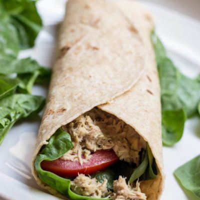 Easy Tuna Salad Hummus Wrap
