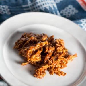 An overhead image of the Slow Cooker Pulled BBQ Chicken recipe. The pulled chicken is on a white plate with a colorful napkin underneath the plate.