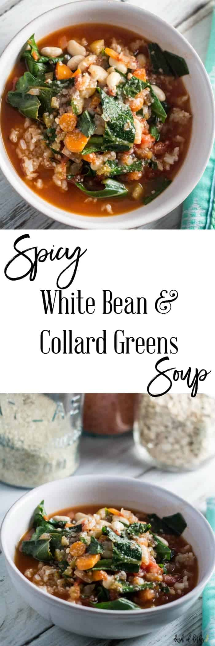 Spicy White Bean & Collard Greens Soup with Rice - A delicious recipe for the vegetarians in your life.