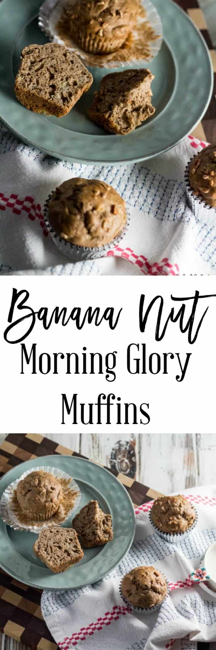 Banana Nut Morning Glory Muffins - A delicious grab and go breakfast recipe when you are in a hurry.  Only 4 SmartPoints per serving (1 muffin) on Weight Watchers.
