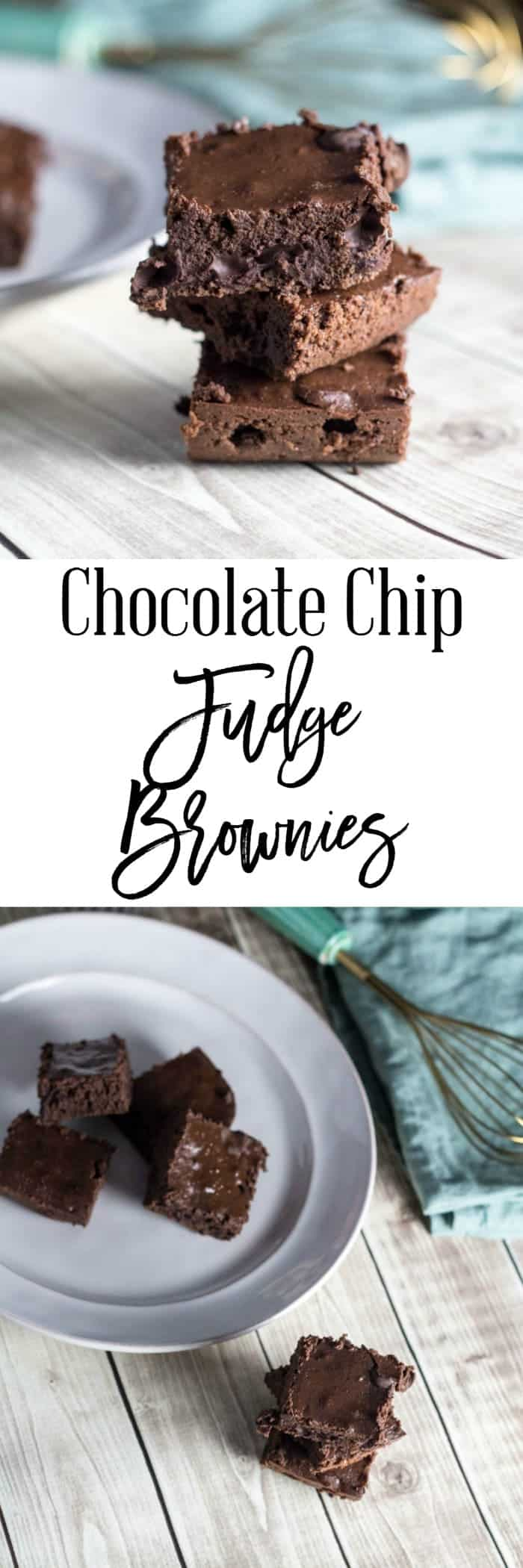 An ooey-gooey brownie can change your whole day and mood.  These chocolate chip fudge brownies are perfect to make quickly when you are craving chocolate.  They are only 5 SmartPoints on Weight Watchers and bursting with chocolate chips.