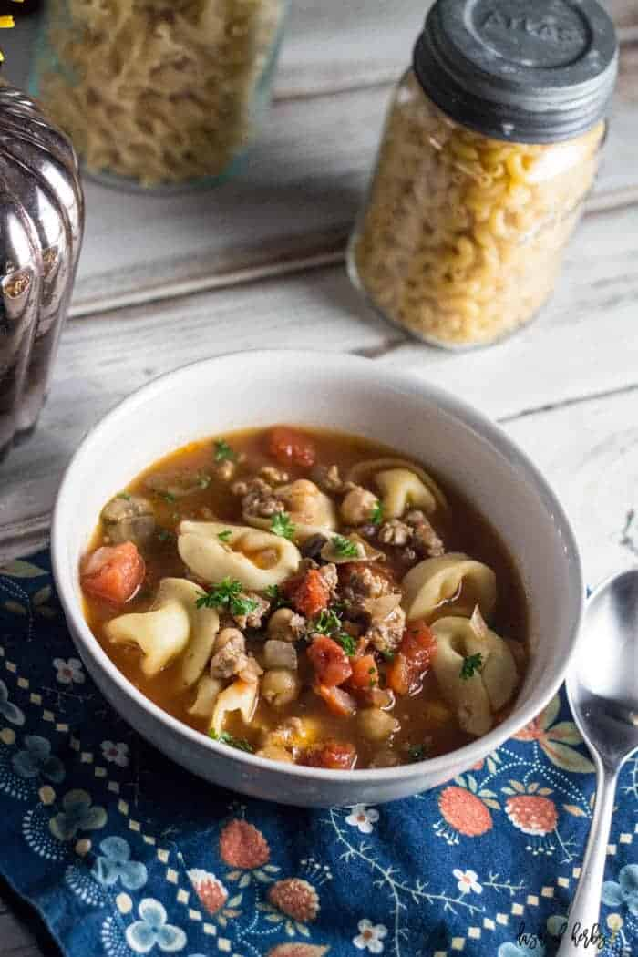 Hearty Tortellini Soup with Sausage