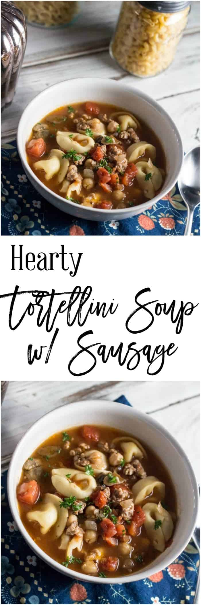 If you are looking for a soup that is hearty and delicious, look no further. This hearty tortellini soup with sausage is perfect for either a wonderful lunch.  This recipe is Weight Watcher friendly too, at only 7 SmartPoints per serving!