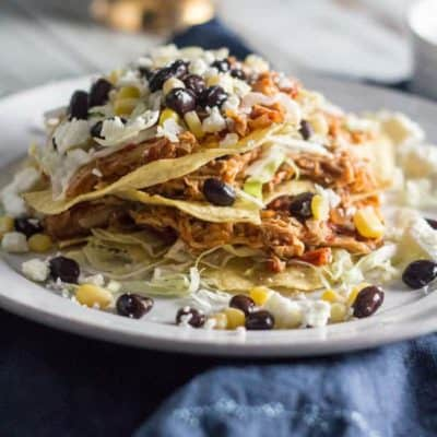 Slow Cooker Salsa Chicken Tostadas