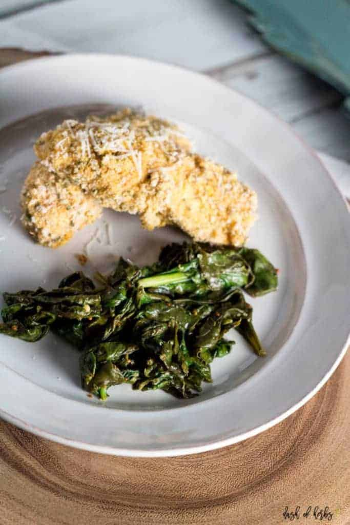 Baked Cornmeal Chicken and Greens