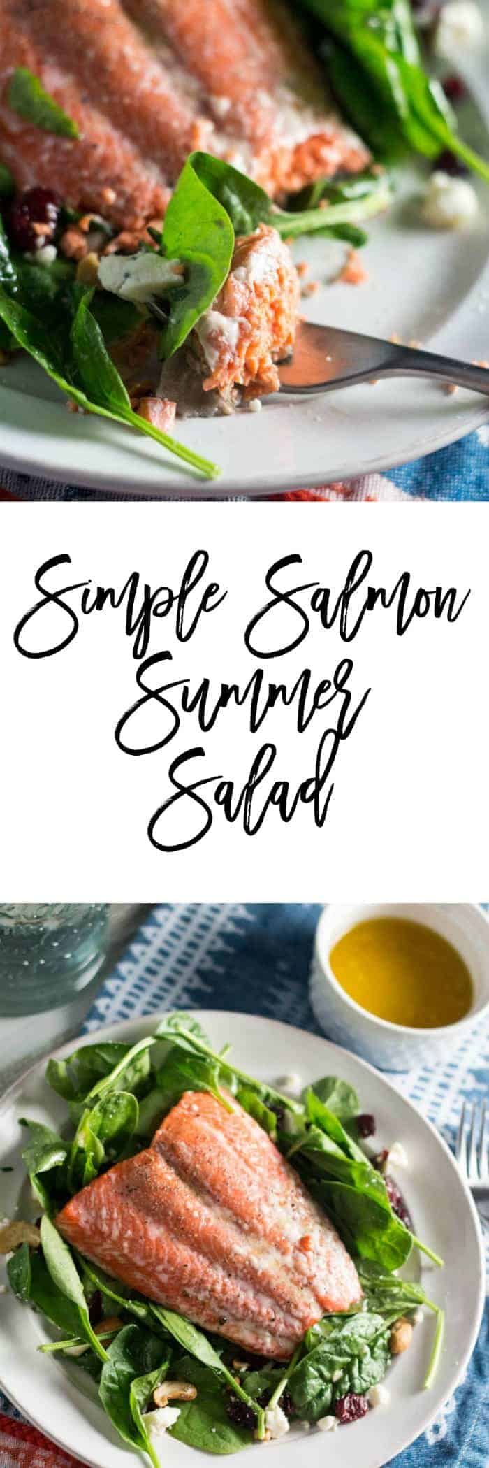 Let's conquer the summer slump by making this easy simple salmon summer salad recipe with a homemade lemon and honey vinaigrette. It really does take about 12 minutes to cook and can be prepped in less time than that. Plus, it's only 12 SmartPoints per serving on Weight Watchers, so you know it's healthy too.