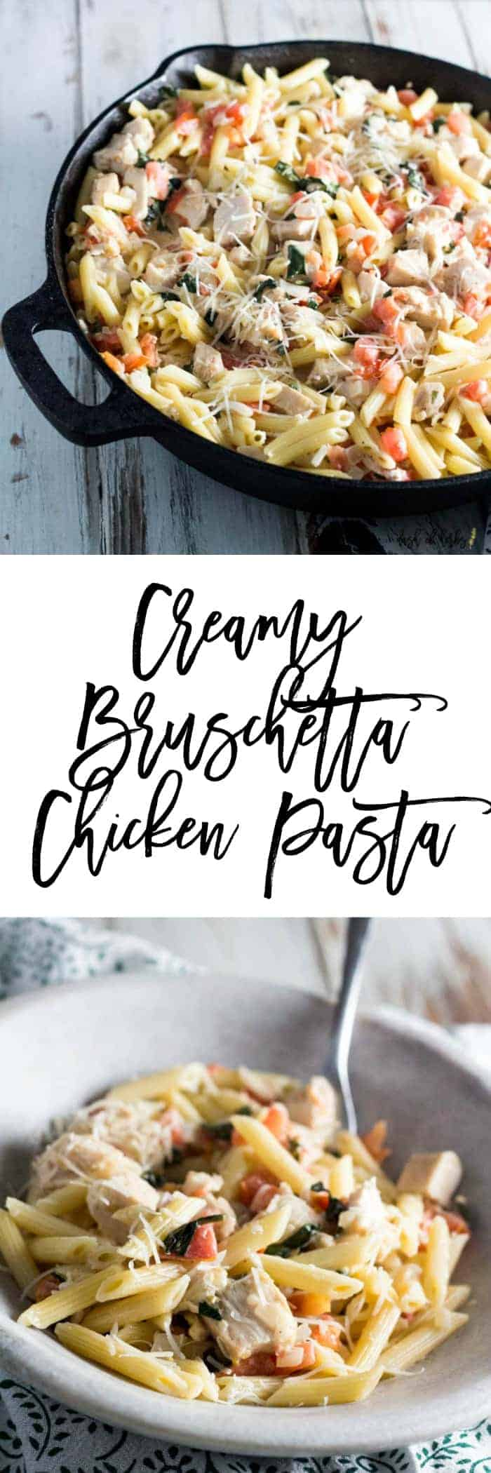 If you crave a creamy pasta dish, you need to try this delicious creamy Bruschetta chicken pasta recipe.  This dish is quick to make and will please your whole family.
