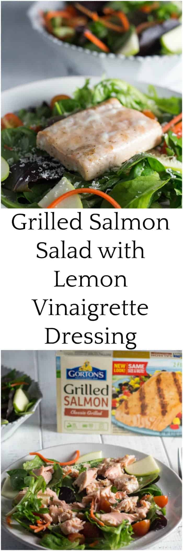 For those busy weeknights, wow your family with this easy grilled salmon salad with lemon vinaigrette dressing using @GortonsSeafood. It takes less than 20 minutes to put it all together, and most of the work can be done while the salmon cooks in the oven. This recipe is only 6 SmartPoints on Weight Watchers Freestyle program. #TrustGortons