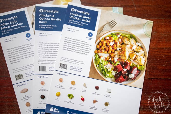 Blue Apron recipe cards for 3 different recipes. Shows the ingredients and a picture of the recipe.